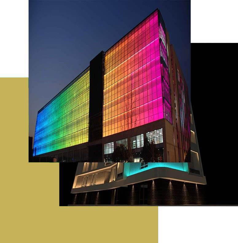 نورپردازی نمای ساختمان به صورت فول کالر dmx